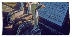 Pelicans And The Menu Bath Towel