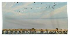 Pelicans At Flagler Beach Hand Towel