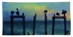 Pelicans At Sunset Hand Towel by Jan Amiss Photography