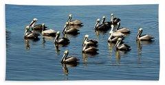 Pelicans Blue Hand Towel
