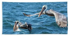 Bath Towel featuring the photograph Pelicans Flying by Robert Bales