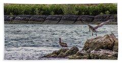 Pelicans  Bath Towel by Nance Larson