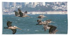 Pelicans Over San Francisco Bay Hand Towel