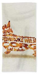 Bath Towel featuring the painting Pembroke Welsh Corgi Watercolor Painting / Typographic Art by Inspirowl Design