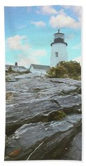 Pemiquid Lighthouse In Maine. Watchers Of The Sea. Bath Towel