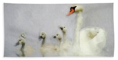 Pen And Her Cygnets Hand Towel