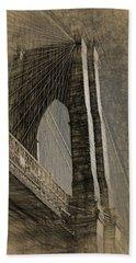 Pencil Sketch Of The Brooklyn Bridge Hand Towel