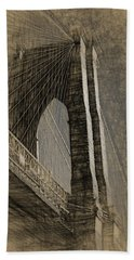 Pencil Sketch Of The Brooklyn Bridge Bath Towel