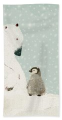 Hand Towel featuring the painting Penguin And Bear by Bri B