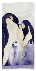 Penguin Family Hand Towel by Laurel Best