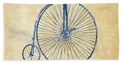 Penny-farthing 1867 High Wheeler Bicycle Vintage Hand Towel by Nikki Marie Smith