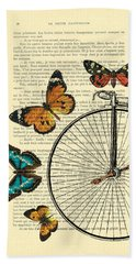 Penny Farthing With Butterflies Hand Towel