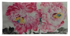 Bath Towel featuring the painting Peoney20161230_624 by Dongling Sun