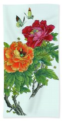 Peonies And Butterflies Hand Towel by Yufeng Wang