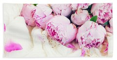 Peonies And Wedding Dress Bath Towel by Anastasy Yarmolovich
