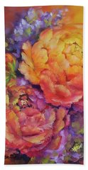 Peonies At Sunset Hand Towel