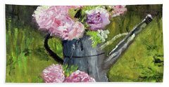 Peonies In Watering Can Bath Towel