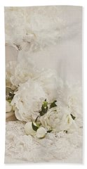 Peonies In White  Hand Towel