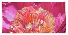 Hand Towel featuring the mixed media Peony - Flower Of Desire by Carol Cavalaris