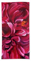 Bath Towel featuring the painting Peony by LaVonne Hand