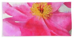 Hand Towel featuring the digital art Peony by Mark Greenberg