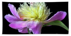 Peony On Black Bath Towel
