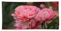 Peony Pink Ranunculus Closeup Bath Towel