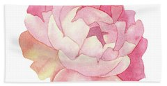 Hand Towel featuring the painting Peony Watercolor  by Taylan Apukovska