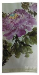 Hand Towel featuring the painting Peony20170126_1 by Dongling Sun