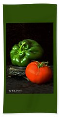 Hand Towel featuring the photograph Pepper And Tomato by Elf Evans