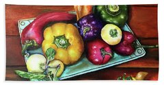 Peppers And A Turquoise Tray Bath Towel