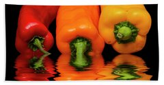 Bath Towel featuring the photograph Peppers Red Yellow Orange by David French