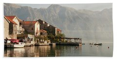 Bath Towel featuring the photograph Perast Restaurant by Phyllis Peterson