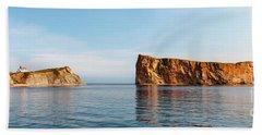 Bath Towel featuring the photograph Perce Rock At Gaspe Peninsula by Elena Elisseeva