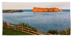 Bath Towel featuring the photograph Perce Rock At Sunset by Elena Elisseeva