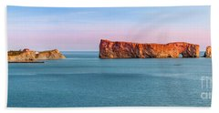 Bath Towel featuring the photograph Perce Rock Panorama At Sunset by Elena Elisseeva