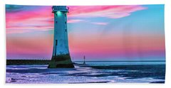 Perch Rock Sunset Hand Towel by Brian Tarr