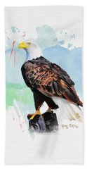 Hand Towel featuring the painting Perched Eagle by Greg Collins