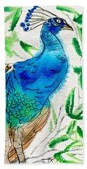 Perched Peacock I Hand Towel