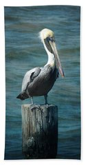 Perched Pelican Bath Towel by Carla Parris