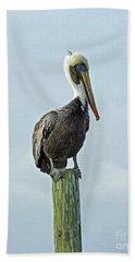 Perched Pelican Hand Towel