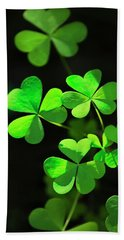 Perfect Green Shamrock Clovers Hand Towel by Christina Rollo