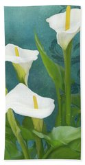 Hand Towel featuring the painting Perfection - Calla Lily Trio by Audrey Jeanne Roberts