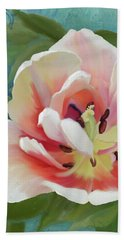Bath Towel featuring the painting Perfection - Single Tulip Blossom by Audrey Jeanne Roberts