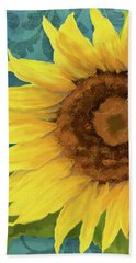 Hand Towel featuring the painting Perfection - Russian Mammoth Sunflower by Audrey Jeanne Roberts
