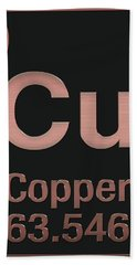 Periodic Table Of Elements - Copper - Cu - Copper On Black Hand Towel
