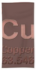 Periodic Table Of Elements - Copper - Cu - Copper On Copper Hand Towel