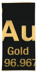 Periodic Table Of Elements - Gold - Au - Gold On Black Hand Towel