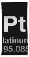 Periodic Table Of Elements - Platinum - Pt - Platinum On Black Hand Towel