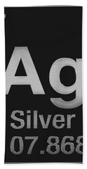 Periodic Table Of Elements - Silver - Ag - Silver On Black Hand Towel